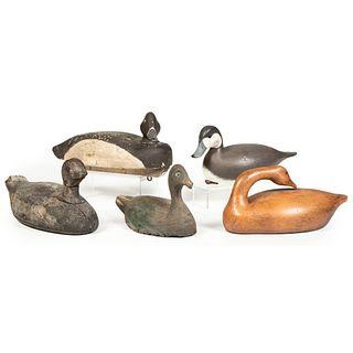Five Wooden Duck Decoys