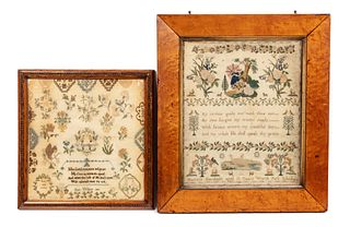 Two English Embroidered Needlework Samplers