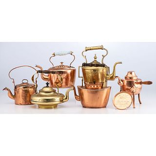 Six Copper and Brass Kettles