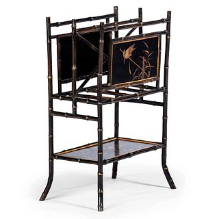 A Victorian Japonesque Lacquered and Parcel Gilt Bamboo Magazine Stand