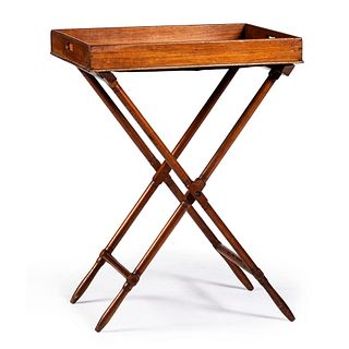 A Federal Style Mahogany Butler's Tray on Stand