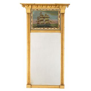 A Classical Giltwood and Églomisé Looking Glass, Likely New York, Circa 1820