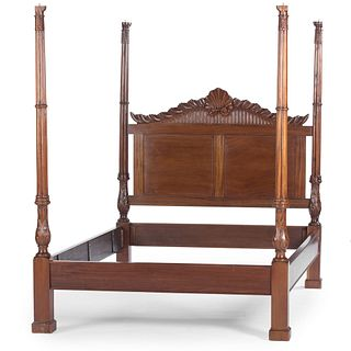 A Chippendale Style Shell-Carved Mahogany Cluster-Support Tester Bed, 20th Century