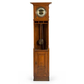 A Gustav Becker Arts and Crafts Oak Tall Case Clock