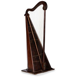 A Painted Star Mounted Mahogany and Inlaid Harp