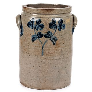 A Cobalt Decorated Stoneware Four-Gallon Twin-Handle Crock