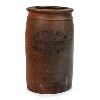 A Jane Lew, West Virginia Two-Gallon Stoneware Jar