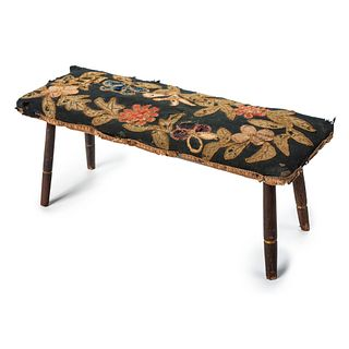 A Red-Painted Pine Windsor Footstool with Appliqué Cover