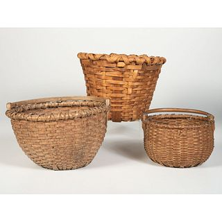 Three American Splint Oak and Hickory Baskets