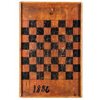 A Folk Art Painted Checkerboard, Circa 1886