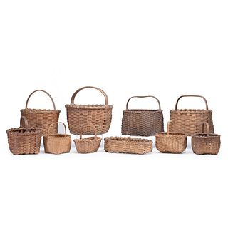 Ten Split Oak and Woven Baskets