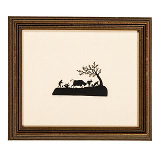 Two Cut Paper Silhouette Landscape Scenes with Figures and Animals