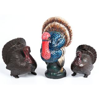 Three Cast Iron Turkey Still Banks