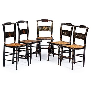 Five Classical Black-Painted Stencil-Decorated Rush Seat Hitchcock Chairs