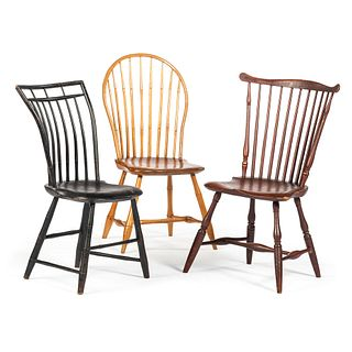 Three Windsor Maker Marked Chairs