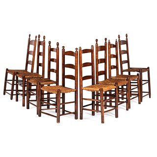 Eight Rush Seated Ladder Back Side Chairs