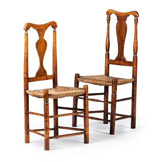 Two Queen Anne Maple Rush-Seat Side Chairs, New England