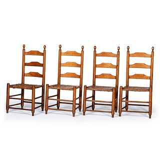 A Set of Four William and Mary-Style Cherrywood Splint Seat Ladder Back Split Seat Side Chairs