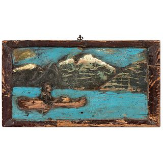 A Folk Art Relief Carved and Painted Wood Panel