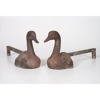 A Pair of Cast-Iron Duck-Form Andirons