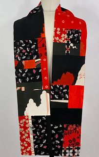Red and Black with Clouds Scarf