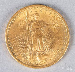 1908 St. Gaudens twenty dollar gold coin