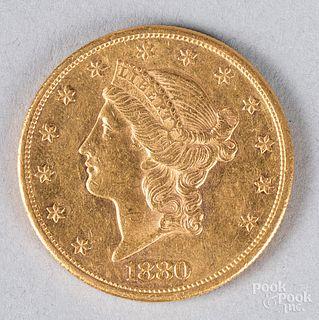 1880-S Liberty head twenty dollar gold coin.