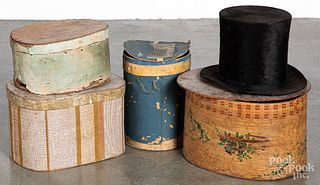 Four wallpaper hat boxes, 19th c.