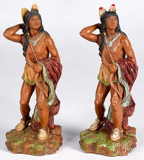 Pair of resin figures of Native American Indians