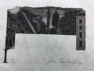 City Scene by John Farleigh, Woodcut on paper signed, UK