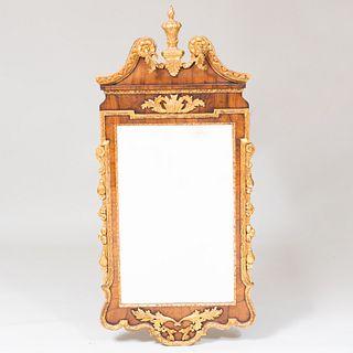 George II Walnut Parcel-Gilt Mirror