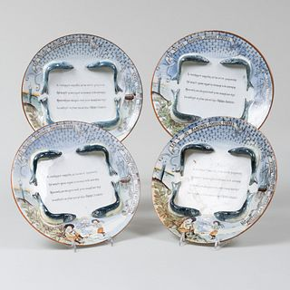 Set of Four Amieux Frères Transfer Printed and Enriched Promotional Sardine Plates