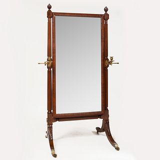 Federal Style Carved Mahogany and Brass Cheval Mirror