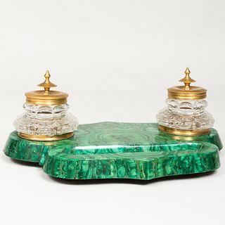 Continental Malachite Gilt-Metal-Mounted Cut Glass Inkstand