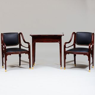 Austrian Otto Wagner Style Suite of Seat Furniture and Table, Probably J & J Kohn