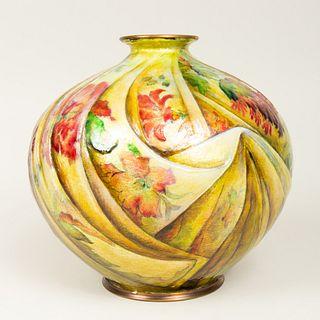 Continental Art Deco Enameled Metal Vase