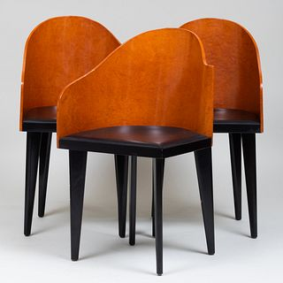 Three Saporitti Moderne Burl and Ebonized Side Chairs