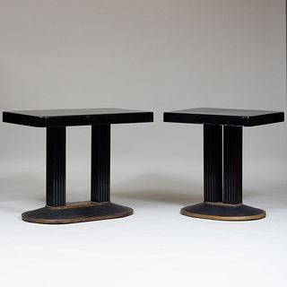 Two Similar American Art Deco Ebonized and Brass Console Tables