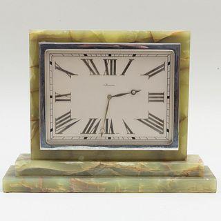 Large Meismann Swiss Art Moderne Onyx and Chrome Clock