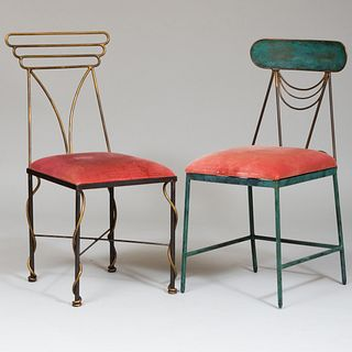 Two Similar Whimsical Patinated Metal Side Chairs