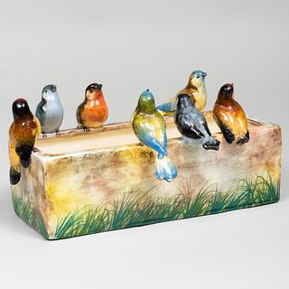 Jerome Massier Faience Perching Bird Planter