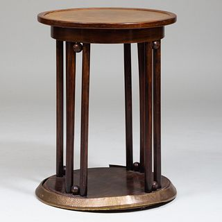 Secessionist Style Brass-Mounted Stained Wood Side Table