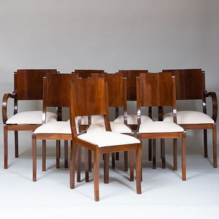 Set of Eight Art Deco Style Walnut Dining Chairs