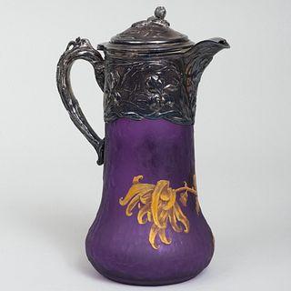 Art Nouveau Silver Plate Gilt-Cameo Glass Champagne Pitcher
