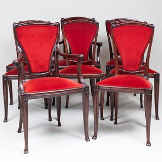 Set of Eight Art Nouveau Charles Plumet Stained Oak Dining Chairs