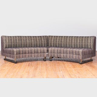 Large Modern Metal-Mounted Leather and Upholstered Curved Sofa