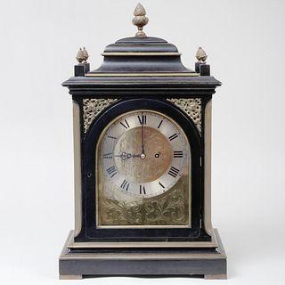 Victorian Brass Bound Ebonized Mantel Clock, John Moore & Sons