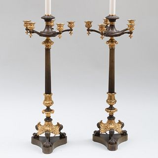 Pair of Empire Style Gilt-and Patinated-Bronze Candelabra Mounted as Lamps