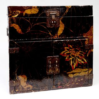 Asian Black Lacquer and Parcel-Gilt Chest