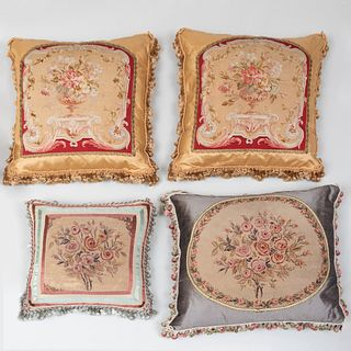 Four Floral Needlework Pillows with Tassels